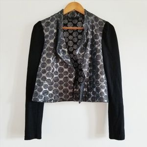 🌿Lucca Couture Black + Silver Metallic Blazer - M